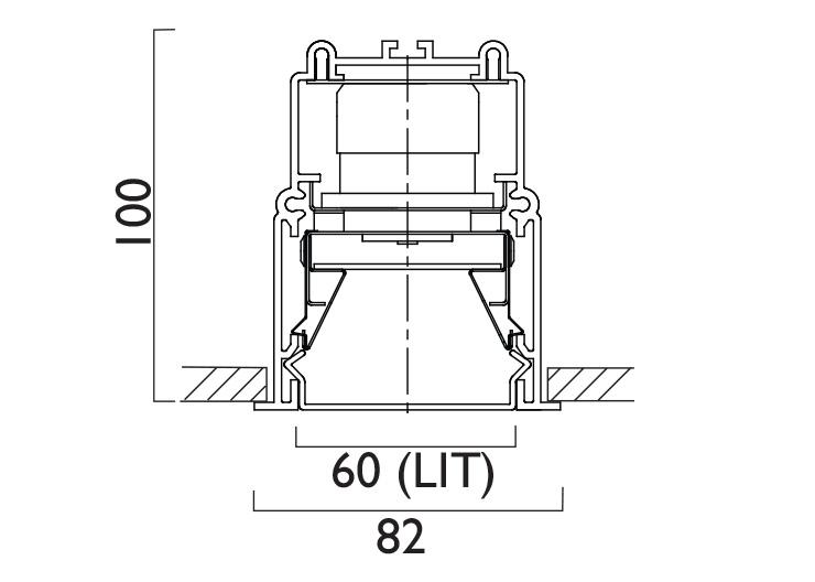 Lightline LED 88 Recessed Trim Line Drawing